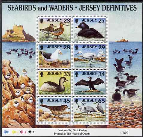 Jersey 1997-99 Seabirds & Waders perf m/sheet #4 containing 8 values (23p, 27p, 28p, 29p, 33p, 34p, 45p & 65p) unmounted mint SG MS 806d
