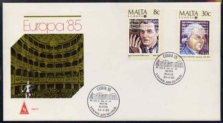 Malta 1985 Europa - Music Year set of 2 on illustrated cover with first day cancels