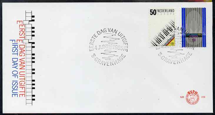 Netherlands 1985 Europa - Music Year set of 2 on illustrated cover with first day cancels