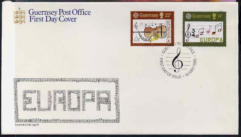 Guernsey 1985 Europa - European Music Year set of 2 on illustrated cover with first day cancels, stamps on music, stamps on europa