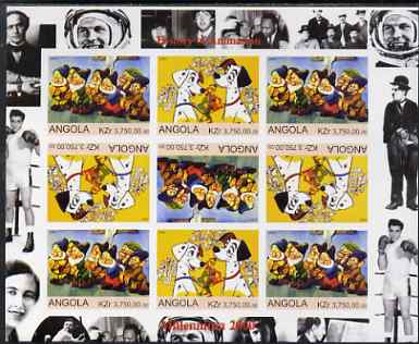 Angola 2000 Millennium 2000 - History of Animation #1 imperf sheetlet containing 9 values (in tete-beche format) unmounted mint. Note this item is privately produced and is offered purely on its thematic appeal (Disney Characters with Elvis, Chaplin, Beatles, Gershwin, N Armstrong etc in margins)