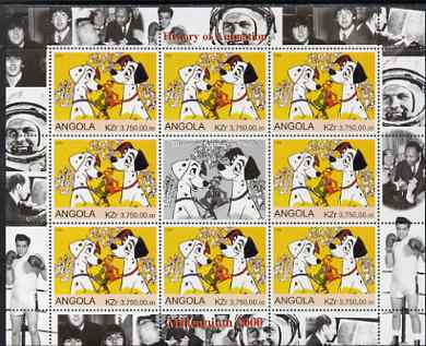 Angola 2000 Millennium 2000 - History of Animation #2 perf sheetlet containing 8 values plus label unmounted mint (Disney 101 Dalmations with Elvis, Beatles, Gershwin, N ...