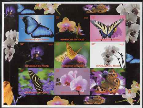 Chad 2008 Butterflies & Orchids imperf sheetlet containing set of 9 values unmounted mint
