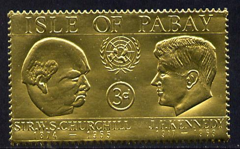 Pabay 1967 Churchill & Kennedy 3d value embossed in gold foil (perf) unmounted mint (Rosen PA60)