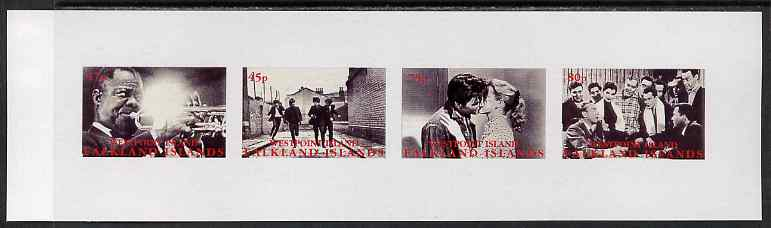 Westpoint Island (Falkland Islands) 1999 Music Icons imperf sheetlet containing 4 values unmounted mint (Satchmo, Beatles, Elvis & Bill Haley)