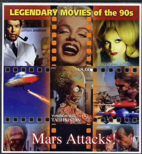 Tadjikistan 2002 Legendary Movies of the '90's - Mars Attacks, large imperf sheetlet containing 1 value unmounted mint (also shows Marilyn Monroe) unmounted mint
