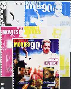 Turkmenistan 2002 Legendary Movies of the '90's - Basic Instinct, large sheetlet containing 2 values - the set of 5 imperf progressive proofs comprising the 4 individual colours plus all 4-colour composite, unmounted mint