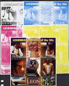Tadjikistan 2002 Legendary Movies of the '90's - Leon, large sheetlet containing 1 value (also shows Marilyn Monroe) - the set of 5 imperf progressive proofs comprising the 4 individual colours plus all 4-colour composite, unmounted mint
