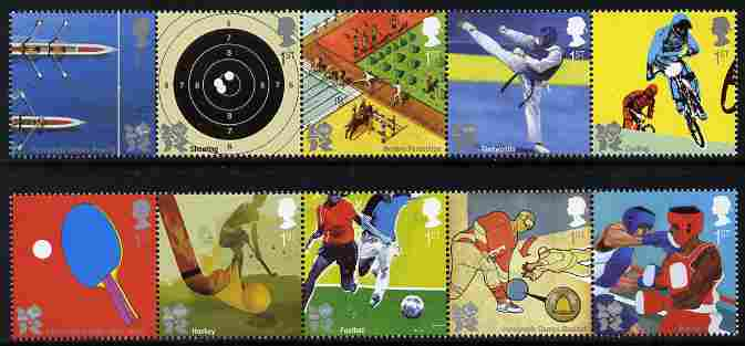 Great Britain 2010 Olympic & Paralympic Games perf set of 10 unmounted mint