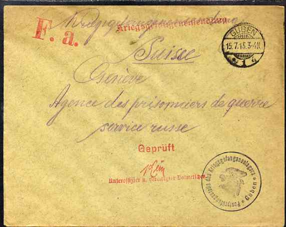 Germany 1915 cover from POW Camp at Guben to Prisoner of War Agency in Geneva, Switzerland with red censor handstamp and Guben POW cachet in black
