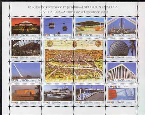 Spain 1992 Expo 92 perf sheetlet containing 12 x 17p values plus 4 labels unmounted mint SG 3148a