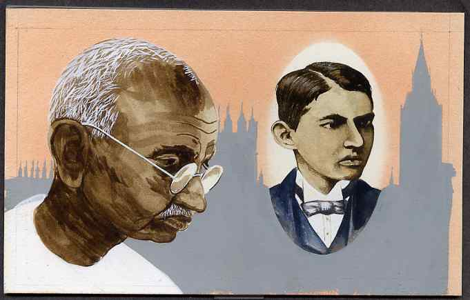 Chad 2009 Mahatma Gandhi original hand-painted artwork for 500F value showing portrait of Gandhi plus him as a Law Student in 1888, on board 7 x 4.5 inches without overla...