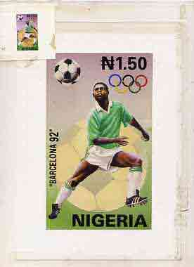 Nigeria 1992 Barcelona Olympic Games (2nd issue) - original hand-painted artwork for N1.50 value (Football) by A Olusola as issued on card 4x7 plus imperf stamp sized mac...