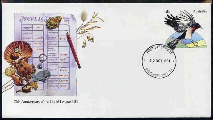 Australia 1984 75th Anniversary of Gould League 30c postal stationery envelope (Bird, Frog, Shells etc) with first day cancellation