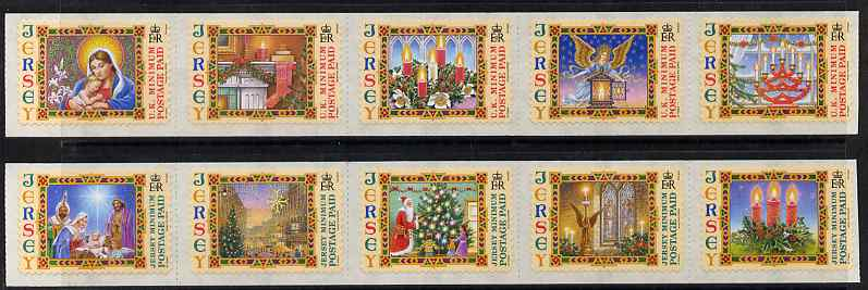 Jersey 2004 Christmas set of 10 self adhesive NVI stamps unmounted mint, SG 1170-79