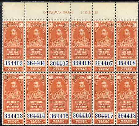 Canada 1930 Revenue KG5 60c Electricity & Gas Inspection block of 12 with OTTAWA imprint & plate number unmounted mint