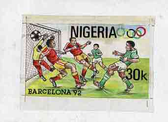 Nigeria 1992 Barcelona Olympic Games (2nd issue) - original hand-painted artwork for 30k value (Football) by Godrick N Osuji on card 7x4