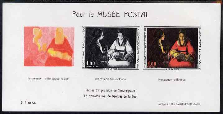 France 1966 French Art - The New Born Child by de La Tour imperf sheetlet containing 3 stages of production specially issued for the Postal Museum, as SG 1711