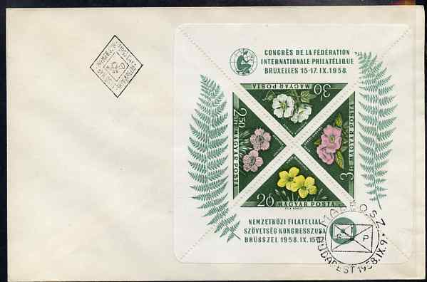 Hungary 1958 International Philatelic Federation Congress - Flowers perf m/sheet containing 4 triangulars on plain cover with first day cancel SG MS 1533a, stamps on stamp exhibitions, stamps on flowers