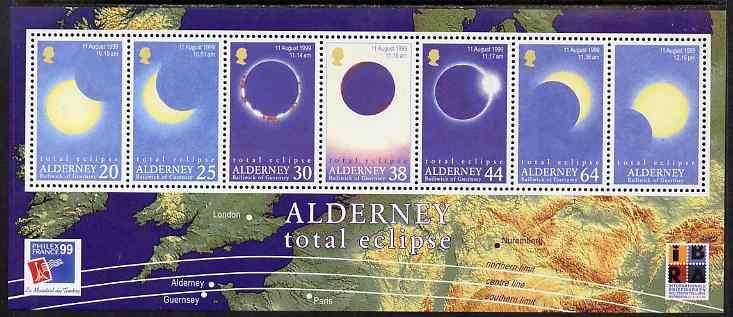 Guernsey - Alderney 1999 Total Eclipse of the Sun perf m/sheet unmounted mint, SG MSA131