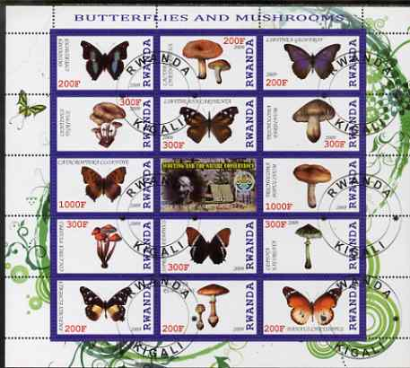 Rwanda 2009 Butterflies & Fungi perf sheetlet containing 14 values plus label showing Baden Powell, fine cto used