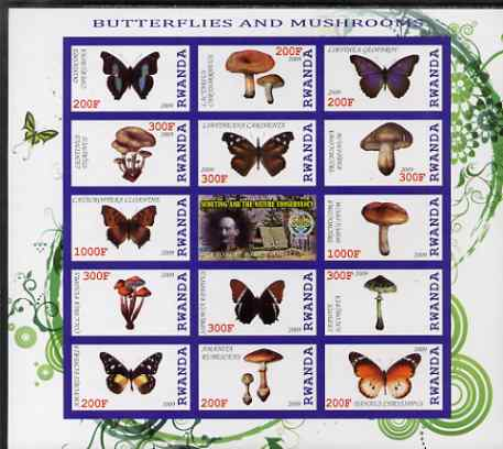 Rwanda 2009 Butterflies & Fungi imperf sheetlet containing 14 values plus label showing Baden Powell, unmounted mint
