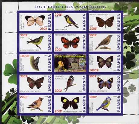 Rwanda 2009 Butterflies & Birds perf sheetlet containing 14 values plus label showing Baden Powell, unmounted mint