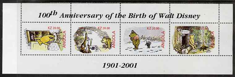 Angola 2001 Birth Centenary of Walt Disney perf sheetlet containing 4 values (Winnie the Pooh) unmounted mint. Note this item is privately produced and is offered purely ...