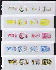 Angola 2001 Birth Centenary of Walt Disney sheetlet containing 4 values (Winnie the Pooh) the set of 5 imperf progressive proofs comprising the various colour combination...