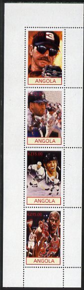 Angola 2001 American Sports Stars perf sheetlet containing 4 values (Nascar, Baseball, Ice Hockey & Basketball) unmounted mint