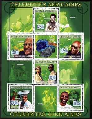 Comoro Islands 2009 African Celebrities perf sheetlet containing 6 values unmounted mint