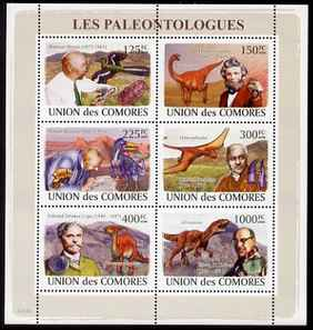 Comoro Islands 2008 Paleontolgists & Dinosaurs perf sheetlet containing 6 values unmounted mint