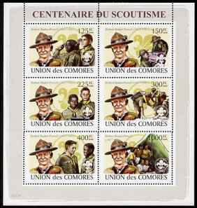 Comoro Islands 2008 Centenary of Scouting (Baden Powell) perf sheetlet containing 6 values unmounted mint, stamps on personalities, stamps on scouts