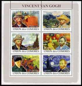 Comoro Islands 2008 Vincent Van Gogh perf sheetlet containing 6 values unmounted mint