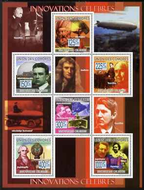 Comoro Islands 2009 Famous Innovations perf sheetlet containing 6 values unmounted mint Michel 2296-1301