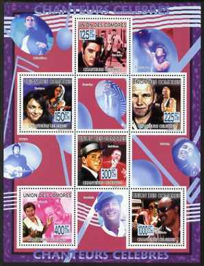 Comoro Islands 2009 Famous Singers perf sheetlet containing 6 values unmounted mint Michel 2245-50
