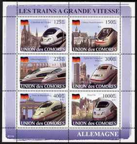 Comoro Islands 2008 High Speed Trains of Germany perf sheetlet containing 6 values unmounted mint Michel 1869-74