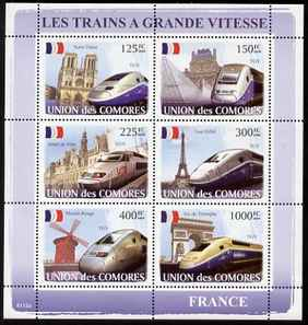 Comoro Islands 2008 High Speed Trains of France perf sheetlet containing 6 values unmounted mint Michel 1875-80