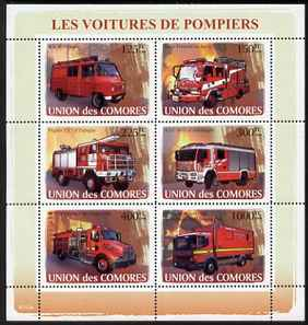 Comoro Islands 2008 Fire Engines perf sheetlet containing 6 values unmounted mint Michel 1819-24