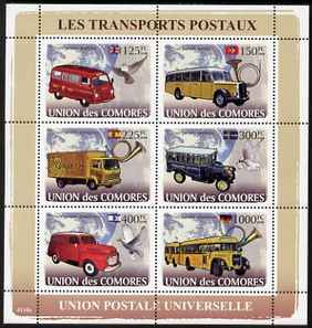 Comoro Islands 2008 Postal Vehicles perf sheetlet containing 6 values unmounted mint Michel 1813-18