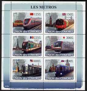 Comoro Islands 2008 Metro Trains perf sheetlet containing 6 values unmounted mint Michel 1862-67