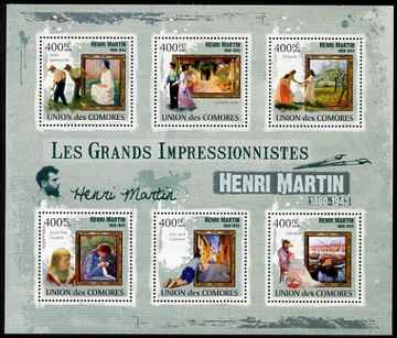 Comoro Islands 2009 Impressionists - Henri Martin perf sheetlet containing 6 values unmounted mint