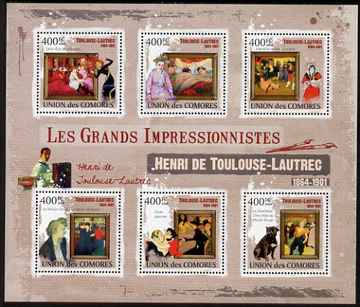 Comoro Islands 2009 Impressionists - Toulouse Lautrec perf sheetlet containing 6 values unmounted mint