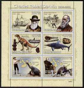 Guinea - Bissau 2009 Charles Darwin perf sheetlet containing 6 values unmounted mint Michel 4104-09