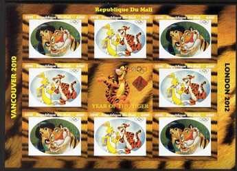 Mali 2010 Year of the Tiger with Olympic Rings, imperf sheetlet containg 2 values x 4 plus label, unmounted mint. Note this item is privately produced and is offered purely on its thematic appeal