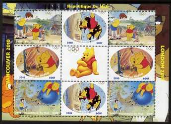 Mali 2010 Winnie the Pooh with Olympic Rings, perf sheetlet containg 4 values x 2 plus label, unmounted mint. Note this item is privately produced and is offered purely on its thematic appeal