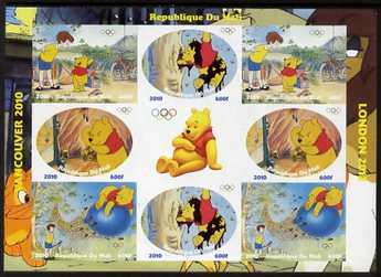 Mali 2010 Winnie the Pooh with Olympic Rings, imperf sheetlet containg 4 values x 2 plus label, unmounted mint. Note this item is privately produced and is offered purely on its thematic appeal