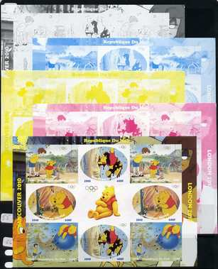 Mali 2010 Winnie the Pooh with Olympic Rings, sheetlet containg 4 values x 2 plus  the set of 5 imperf progressive proofs comprising the 4 individual colours plus all 4-colour composite, unmounted mint