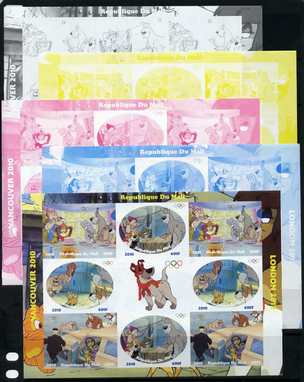 Mali 2010 Oliver & Company with Olympic Rings, sheetlet containg 4 values x 2 plus  the set of 5 imperf progressive proofs comprising the 4 individual colours plus all 4-colour composite, unmounted mint