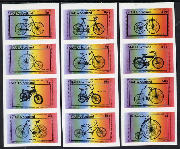 Staffa 1977 Bicycles complete imperf set of 12 values - 3 strips of 4 (2p to \A31) unmounted mint